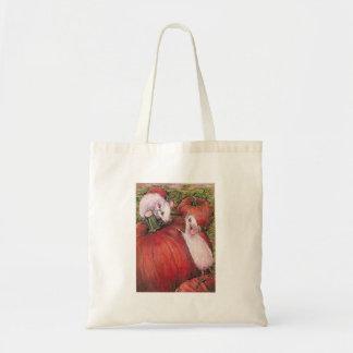 白いネズミのバッグ トートバッグ