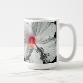 白いハイビスカス コーヒーマグカップ