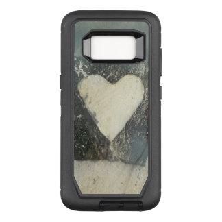白いハートのカワウソの電話箱 オッターボックスディフェンダーSamsung GALAXY S8 ケース