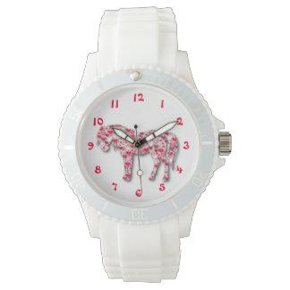 白いハートの馬の子馬の腕時計 腕時計