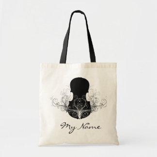 白いバイオリンのトートバックの黒 トートバッグ