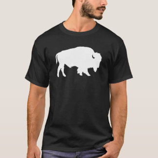 白いバッファローのシルエットの影の獣 Tシャツ