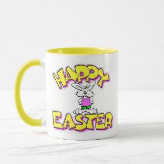 白いバニーのハッピーイースター マグカップ
