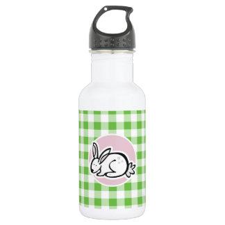 白いバニー; 緑のギンガム ウォーターボトル
