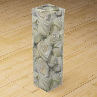 白いバラおよび真珠のワイン箱 ワインギフトボックス