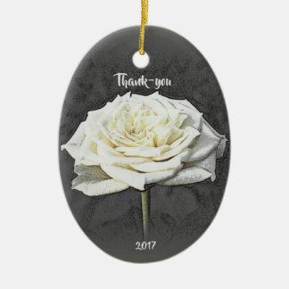 白いバラのありがとうのオーナメント セラミックオーナメント