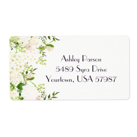 白いバラのアジサイの花柄の差出人住所ラベル ラベル