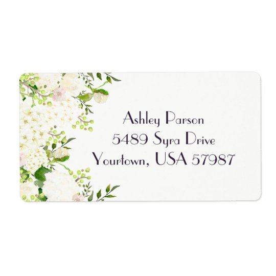白いバラのアジサイの花柄の差出人住所ラベル 発送ラベル