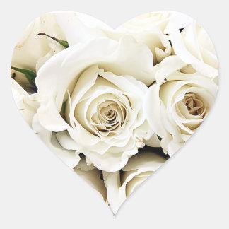 白いバラのステッカー ハートシール