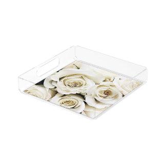 白いバラのトレイ アクリルトレー