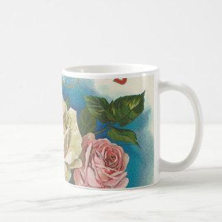 白いバラのヴィンテージ コーヒーマグカップ