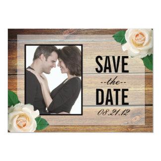 白いバラの保存日付の招待 カード