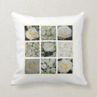 白いバラの正方形のコラージュの枕独身のな側面 クッション