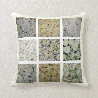 白いバラの正方形のコラージュ クッション