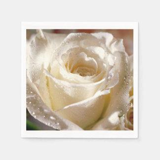 白いバラの結婚式のブライダルシャワーのナプキン スタンダードカクテルナプキン