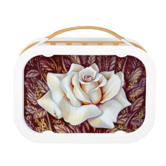 白いバラの花束の現実的な絵画 ランチボックス