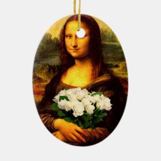 白いバラの花束を持つモナ・リザ セラミックオーナメント