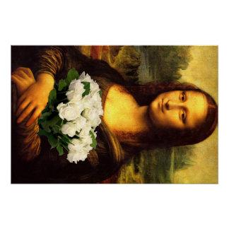 白いバラの花束を持つモナ・リザ ポスター
