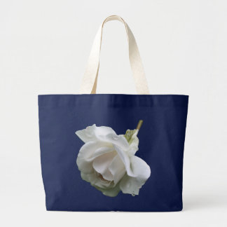 白いバラの雨滴の花の写真のトートバック ラージトートバッグ