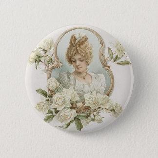 白いバラボタンを持つ女性 缶バッジ