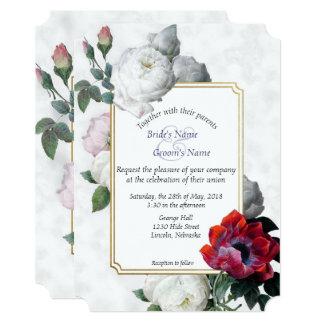 白いバラ及び赤いシャクヤクの春の結婚式の招待1 カード