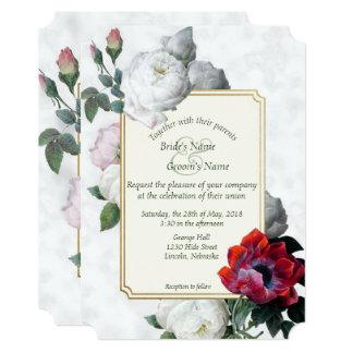 白いバラ及び赤いシャクヤクの春の結婚式の招待3 カード