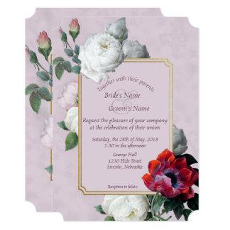 白いバラ及び赤いシャクヤクの春の結婚式の招待4 カード