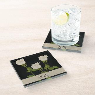 白いバラ ガラスコースター