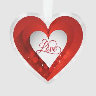 白いバレンタインデーか赤はハートカスタマイズ オーナメント