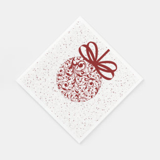 白いバロック式のオーナメントのクラシックな休日の赤 スタンダードランチョンナプキン