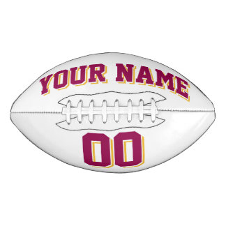 白いバーガンディおよび金ゴールドの習慣のフットボール アメリカンフットボール