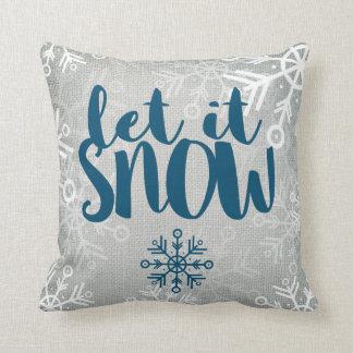 白いバーラップ|の素朴な雪片はそれが雪が降るようにしました クッション