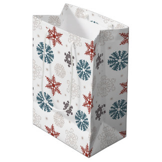 白いパターンの赤くおよび青の愛国心が強い雪片 ミディアムペーパーバッグ
