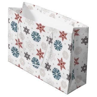白いパターンの赤くおよび青の愛国心が強い雪片 ラージペーパーバッグ