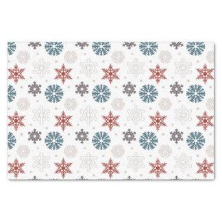 白いパターンの赤くおよび青の愛国心が強い雪片 薄葉紙