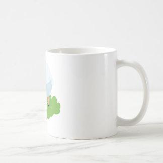 白いヒツジおよびshaunヒツジ コーヒーマグカップ