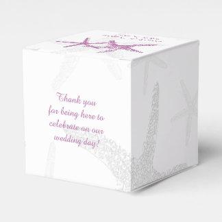 白いビーチ結婚式の好意箱の紫色のヒトデ フェイバーボックス