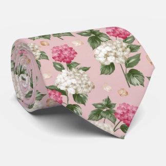 白いピンクのアジサイの花の継ぎ目が無いパターン ネクタイ