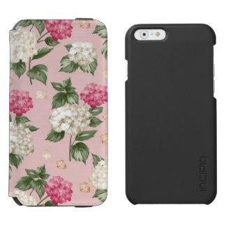 白いピンクのアジサイの花の継ぎ目が無いパターン INCIPIO WATSON™ iPhone 5 財布型ケース