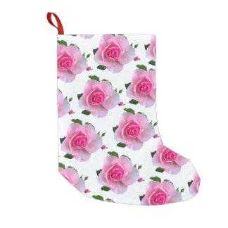 白いピンクのバラ スモールクリスマスストッキング