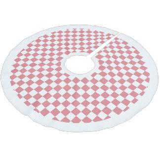 白いピンクは白いボーダークリスマスを点検しました ブラッシュドポリエステルツリースカート