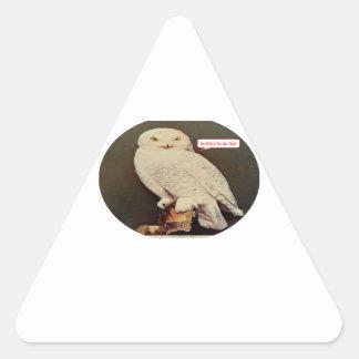 白いフクロウのスケッチ 三角形シール