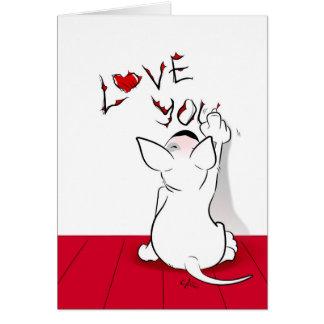 """白いブルテリアの漫画カード""""愛"""" カード"""