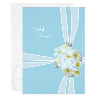 白いプルメリアのハワイのブライダルシャワーの招待状 カード