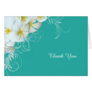 白いプルメリアの華麗さの青いカスタムはノート感謝していしています カード