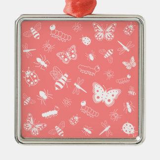 白いベクトル虫及び蝶(ケシの赤の背部) メタルオーナメント