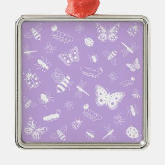 白いベクトル虫及び蝶(紫色の背部) メタルオーナメント