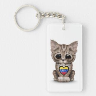 白いベネズエラの旗のハートのかわいい子ネコ猫 キーホルダー