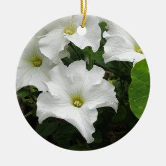 白いペチュニア 陶器製丸型オーナメント