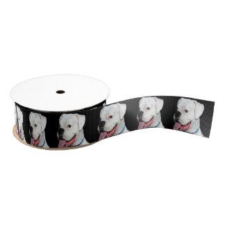 白いボクサー犬 グログランリボン